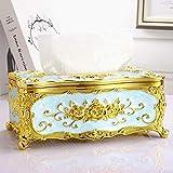 YXSJLT Tissue Paper Box Holder House Gold Blue High-Grade Oil Drip Storage Box Lunch Box Car Pumping Box Tissue Storage Box