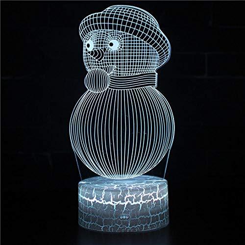 Muñeco de nieve Sleeplite luz nocturna para niños lámpara de ilusión 3D 16 colores cambio automático interruptor táctil escritorio regalo cumpleaños con control remoto