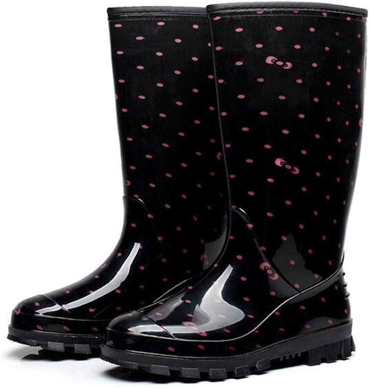SIHUINIANHUA Damen Hohe Stiefel in der Tube wasserdicht Regen Regen Regen blau, rot, schwarz, schwarz, 39  2319f0