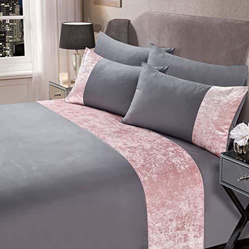 Sienna Crushed Velvet Panel Band Duvet Cover with Pillowcases Bedding Set-Silver Grey Blush, King