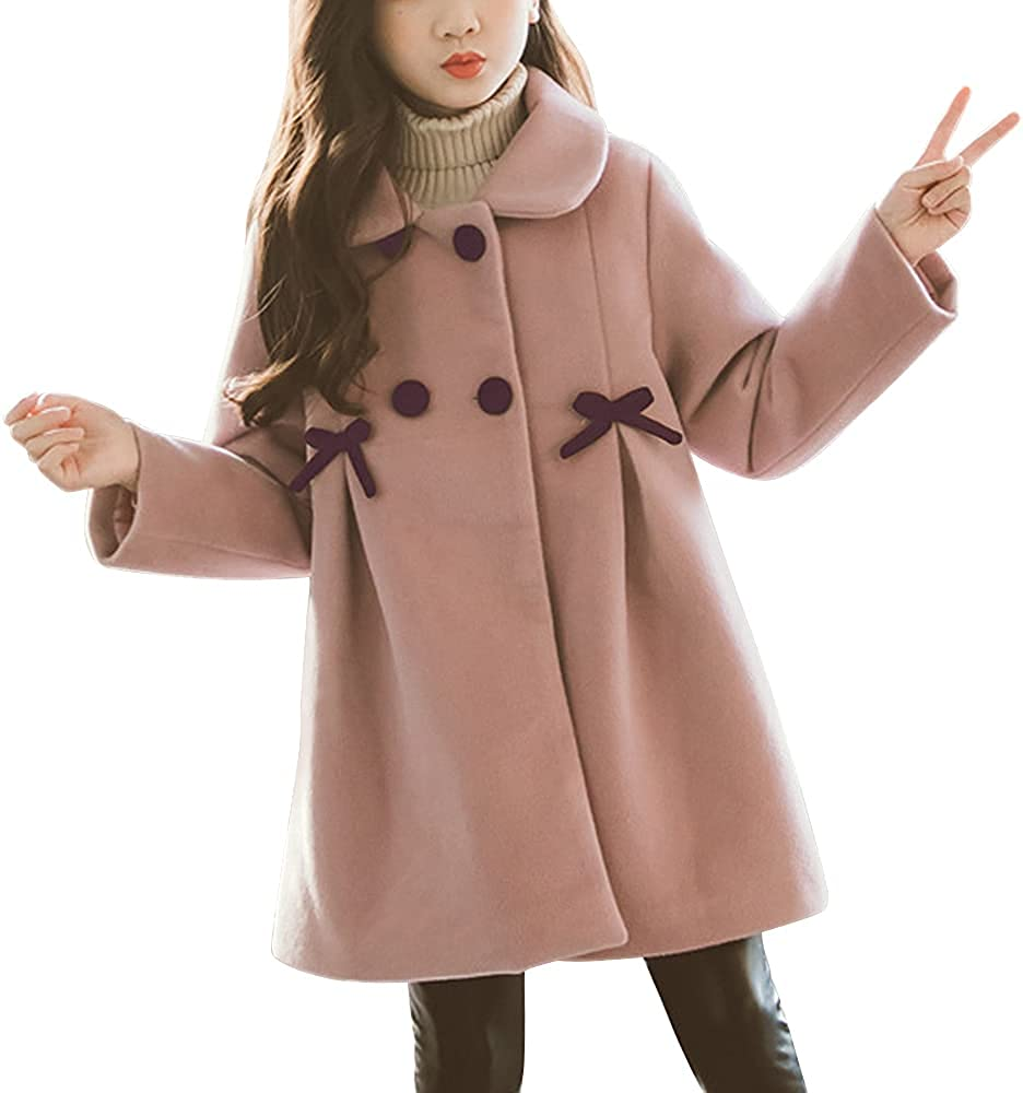 Kids Girls' Double-Breasted Wool Jacket Dress Coats Lapel Peacoat with Bowtie