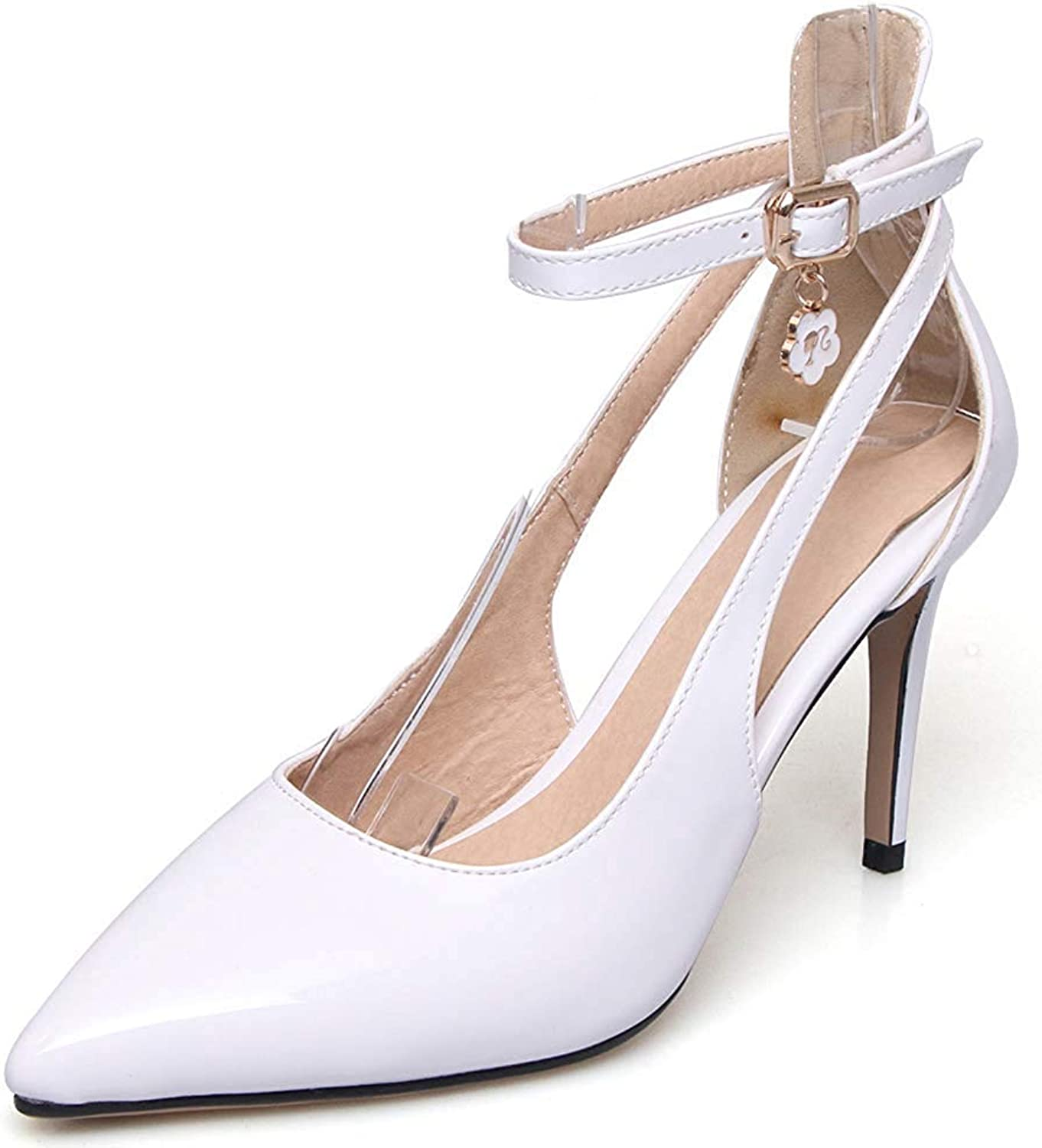 Lelehwhge Women's Formal Burnished Buckle Pointed Toe Ankle Strap Stilettos High Heel Pumps Sandals White 8 M US