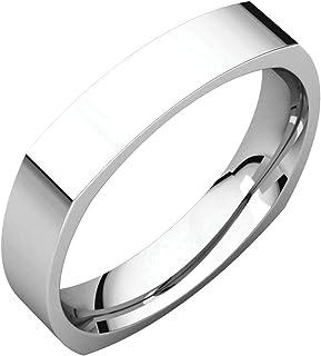 FB Jewels 925 فضة استرليني 4 مم مربع الراحة صالح الرجال خاتم الزفاف الفرقة