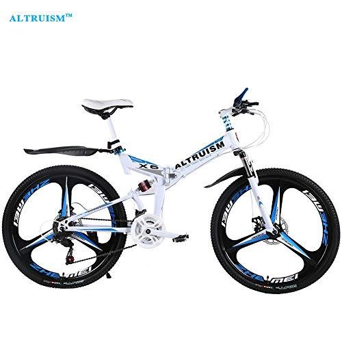 Fslt Altruism X6 21 Speed Faltrad Fahrrad Mountainbiken Bicicleta 26 Stahl Bicicletas Herren Berg Bisiklet Taga Kinderwagen-Weiß_Blau_China