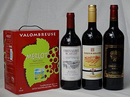 ワインセット フランス産大容量赤ワイン飲み比べセット(ジャンジャン メルロー フランス 赤ワイン ミディアムボディ 3000ml シュヴァリエ・デュ・ルヴァン