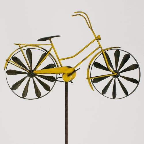 colourliving Windspiel Fahrrad Metallwindrad Bicylce Yellow, Garten, Deko Windrad