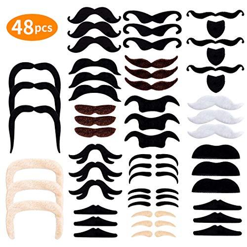 Selbstklebende Schnurrbart E-More 48 Stück Ankleben Klebebärte falscher Bärte Party Bart für Weihnachtsfeier Geburtstag und Partei