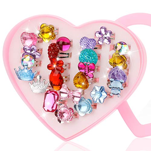 Hifot 24 pcs Girls Crystal Adjustable Rings, Princess Jewelry Finger Rings with Heart Shape Box,...
