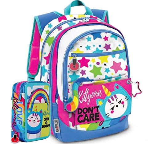 Gopop Schoolpack Zaino Scuola Kittycorn 43x31x17(+9) cm + Astuccio 3 Zip Completo