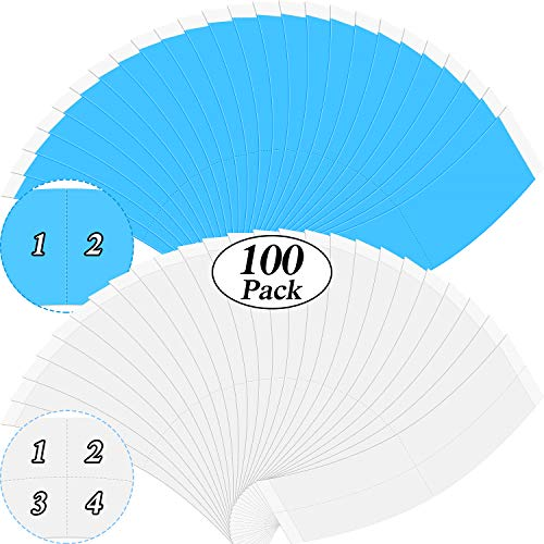 100 Pieces Wig Tapes Lace Front Support Tape Contour Type Wig Tape Double Sided Waterproof Strong Adhesive Strips Tape for Hair Extension/Toupee/Lace Wig