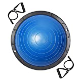 AW Blue 23.2'/59cm Yoga Balance Ball w/ 2 Elastic Strings Fitness Strength Exercise Half Ball Balance Trainer