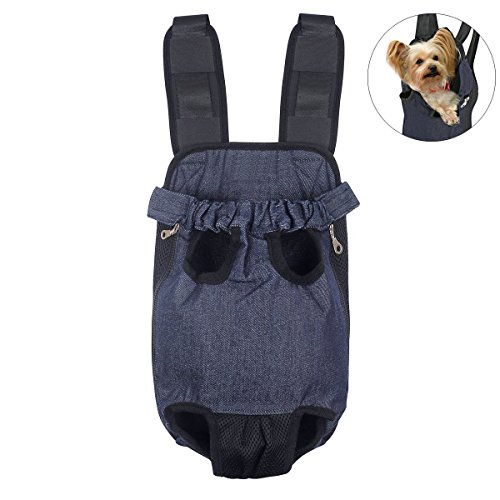 FONLAM Bolso Frontal Perro Gato Mochila Transportin Portátil Cachorro Mascota con Hombreras Tirantes Ajustables Entrepiernas de Malla (S(0-2.5KG), Vaquero)