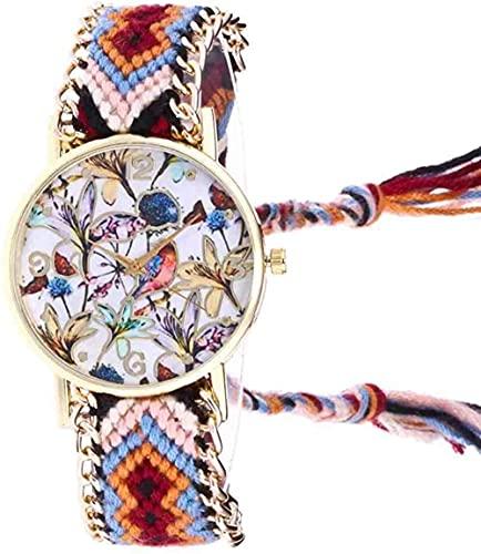 JZDH Mano Reloj Reloj de Pulsera Dreamcatcher Amistad Pulsera Reloj Ladies Cuerda Reloj quarzt Relojes relogiono Hecho a Mano Trenzado Relojes Decorativos Casuales