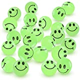ArtCreativity Glow in The Dark Smile Face Bouncing Balls - Bulk Pack of 36, 1 Inch High Bounce Bouncy Balls for Kids, Glowing Party Favors and Goodie Bag Fillers for Boys and Girls