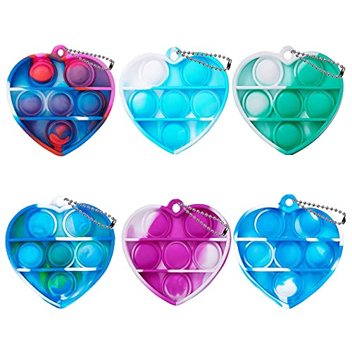 ZNNCO Tie-dye Push pop Bubble Fidget Toy, Mini Keychain Toy, Anxiety Stress Reliever Hand Toys, Squeeze Sensory Toys to Relieve Emotional Stress for Kids Adults (Hreat)