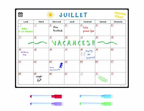SmartPanda Calendario Magnético para Nevera - Ideal Planificador de Menú, Recordatorio, Lista de la Compra - Pizarra Magnética - Mensual - en Francés