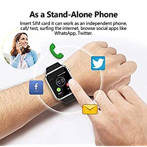 Smart Watch - Sazooy Bluetooth Smart Watch Support Make/Answer Phones Send/Get Messages Compatible Android iOS Phones with Camera Pedometer SIM SD Card Slot for Kids Men Women (Silver)
