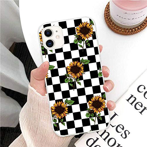 SUBESKING Checkered iPhone 11 Case Cute,Crystal Clear Soft TPU Design Checker Flag Sunflower Plaid Grid Checkerboard Chessboard Lattice Tartan Pattern Slim Fit Shockproof Protective Phone Cover Cases