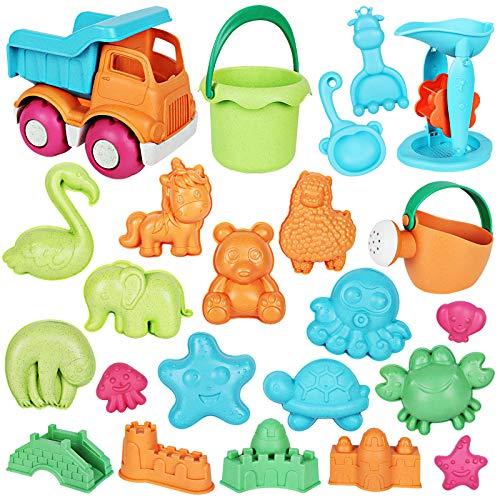 Auney 23 Stück Sandspielzeug Set, Strandspielzeug für Kinder Wasser Spielzeug Sandrad, Muldenkipper, Eimer, Rechen, Gießkanne, Tier- und Schlosssandformen