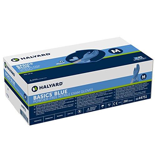 HALYARD Basics Blue Nitril-Untersuchungshandschuhe unsteril, puderfrei, Gr. Klein (S) Box a 200 Stück