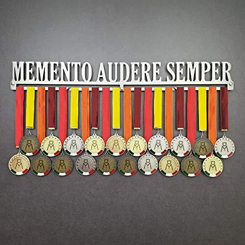 MEDALdisplay Memento AUDERE Semper - Medaillen Aufhänger - Wandhalterung für Sportmedaillen Running - Medaillenhalter - Sport Medal Hanger (750 mm x 100 mm x 3 mm)