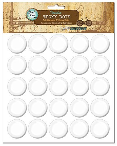 Bottle Cap EP50 Vintage Collection Epoxy Dots, 1-Inch, 50 Per Package