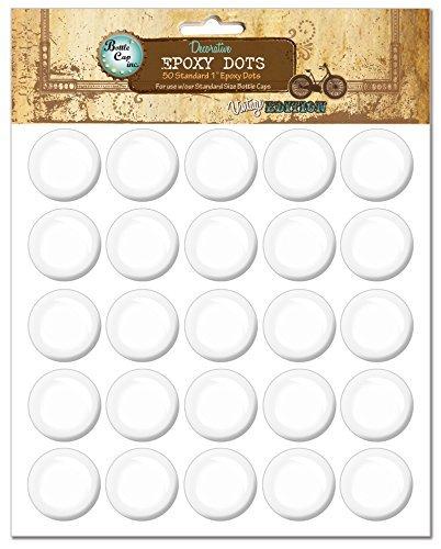 Bottle Cap EP50 Vintage Collection Epoxy Dots, 1-Inch, 50 Per Package