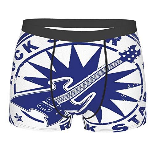 MANISENG Männerunterwäsche,Grunge Stempel mit der Gitarre und den Worten Rockstar geschrieben in der Briefmarke, Boxershorts Atmungsaktive Komfortunterhose Größe S