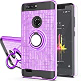 ZTE Blade Z Max/Blade Zmax Pro 2/ Sequoia Case with HD Screen Protector,Ymhxcy 360 Degree Rotating Ring & Bracket Rubber Dual Layer Shock Bumper Resistant Back Cover for ZTE Z982-ZH Purple