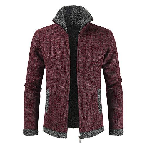 BEIXUNDIANZI Mens Knitted Cardigan Thick Sweater Full Zip Stand Collar Warm Fleece Lined Winter Coat Mens Cardigan Sweater Thick Jumper Warm Winter Jacket 3XL