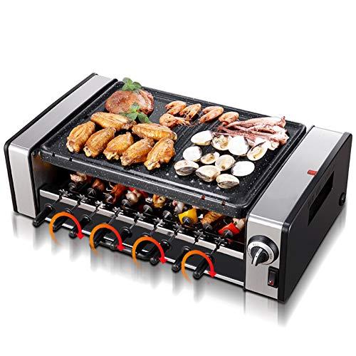 HOSUAI Barbacoa Raclette, Parrilla Sin Humo,Parrilla, 1600 W, Aluminio/Piedra, 8 Personas, Regulable, Acero Inoxidable, con Accesorios