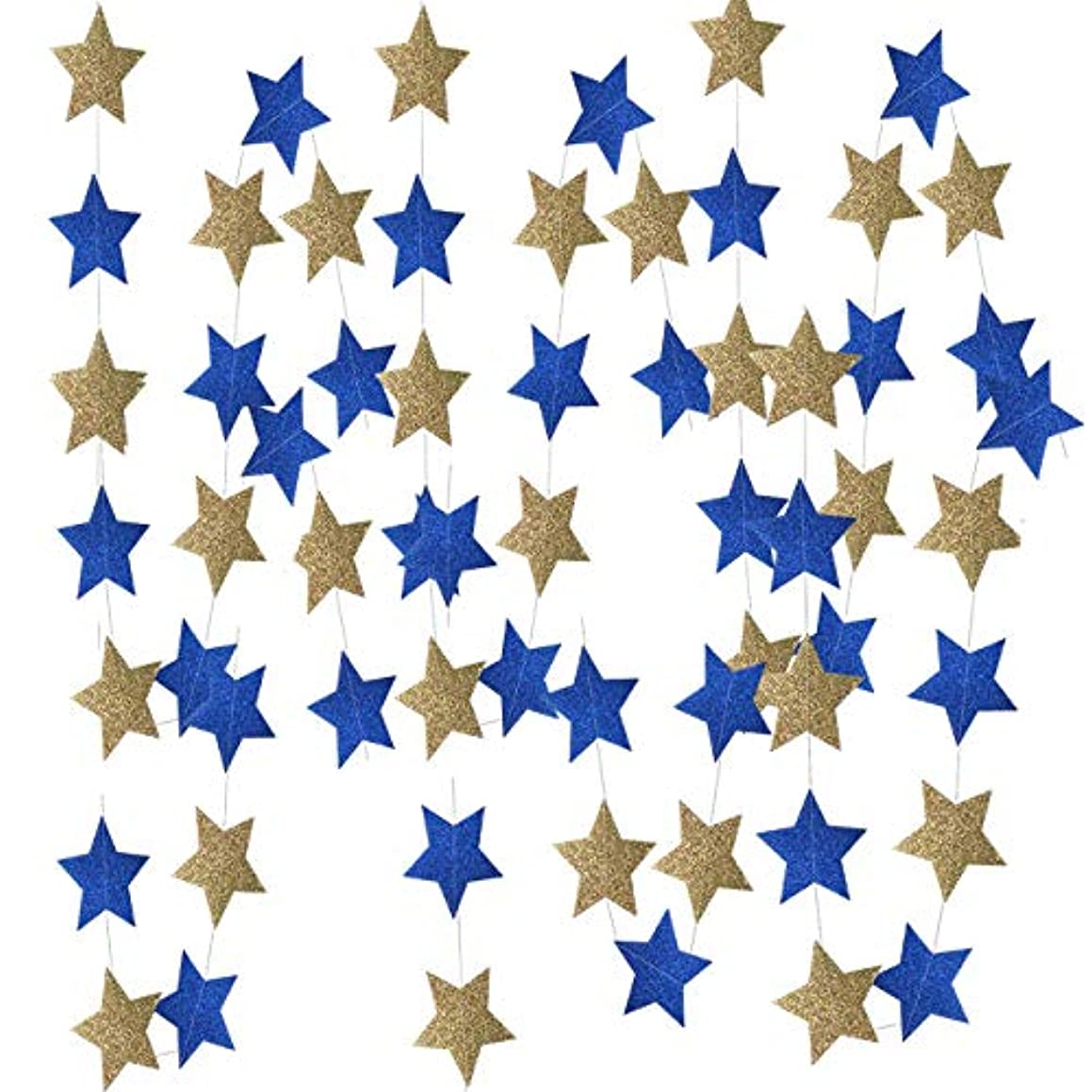 Glitter Navy Gold Star Garlands of 2pcs for Outer Space Party Decorations Birthday Decorations Royal Prince Baby Shower Decorations