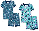 Amazon Essentials Snug-Fit Cotton Pajamas Sleepwear Sets Conjunto de Pijama, Juego de 4 Parches espaciales para Pantalones Cortos, S, Pack de 4
