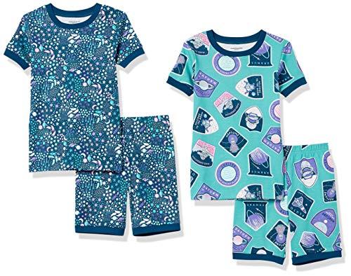 Amazon Essentials Snug-Fit Cotton Pajamas Sleepwear Pyjama, 4-teiliges Space Patches Shorts Set, 4 Jahre, 4er-Pack