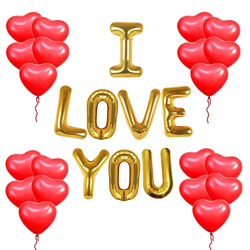 I Love You Balloons and Heart Balloons - Pack of 30 | Red Heart Balloons for Romantic Decorations Special Night | I Love You Balloons for Him/Her | Red Heart Shaped Balloons for Valentines Day Decoration