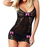 OdeJoy Mode Frau Sexy Spitze Nachthemd Bogen Dessous Versuchung Unterwäsche Erotisch Kleid Nachthemd Erotisch Kleid Ausgefallene Dessous Reizunterwäsche Tanga Höschen (1 PC, Pink)