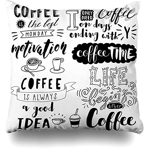 Hangdachang Idea Board Lettering Coffee Phrases Food Drink Art Doodle Life Bar Break Cup Throw Cushion Cover Throw Pillow Cover Square Decorative Throw Pillow Case Double Side Design 18 X 18 Inch