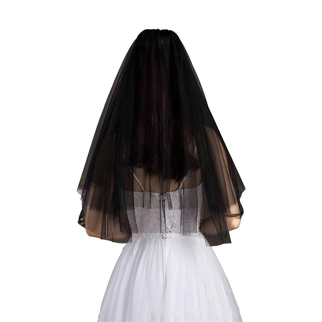 Aetorgc Black Wedding Veils for Brides Two-Tier Cut Edge Bridal Veil Short Waist Length Veils Simple Soft Tulle Veil With Comb Halloween Hair Accessories