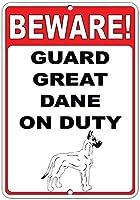 注意してください! 義務のおかしい引用アルミニウム金属看板にグレートデーンを守る