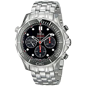 Omega Seamaster Automatic Chronograph Black Dial Stainless Steel Mens Watch 21230445001001 image