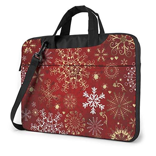 Bolso de Hombro Impreso del Ordenador portátil del Copo de Nieve Rojo de la Navidad, maletín del Bolso de Mensajero del Negocio del Bolso de la Caja del Ordenador portátil