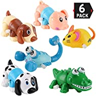 6 Pack Big Wind Up Cartoon Animals for Kids Party Favors Carnival Prizes Classroom Goody Bag Fillers (Includes Pig, Mouse, Dog, Scorpion, Crocodile, Puppy)