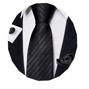 Barry.Wang Mens Solid Black Tie Set Formal Classic Silk Funeral Necktie with Handkerchief Cufflinks Business