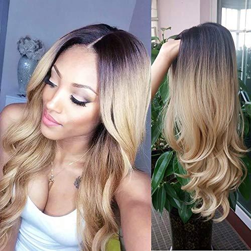 TIREOW Perruque Femmes Full Lace Gold Black Curly Synthétique Perruque De Cheveux Perruques De Mode