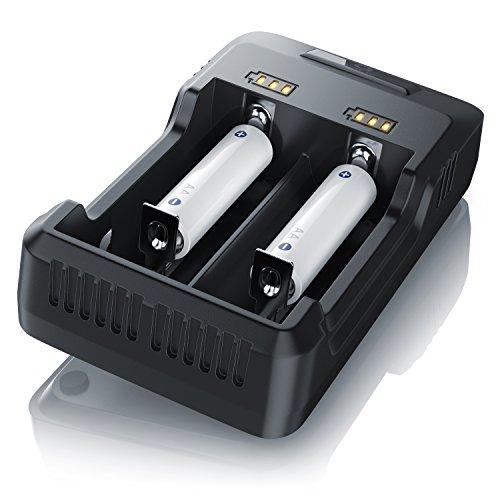 Intelligentes Akku Ladegerät Universal Ladestation für Li-Ion 26650 18650 1 - V NI-Mh NI-CD AA AAA Akkus mit LED Anzeige - Batterieladegerät - Akkuladegerät auch für E Zigaretten