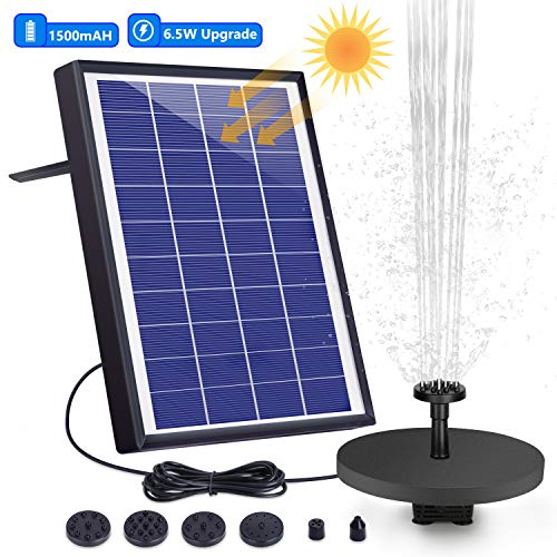 AISITIN 6.5W Solar Fountain Pump Built-in 1500mAh Battery Solar Water Pump Floating Fountain, with 6 Nozzles, for Bird Bath, Fish Tank, Pond or Garden Decoration Solar Aerator Pump