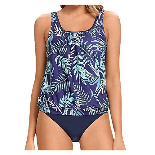 Traje de baño sexi con estampado de dos piezas de bikini para mujer, con push-up, cintura alta, para ropa de playa, azul, XL