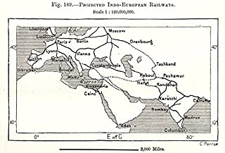 Projected Indo-European Railways. Asia. Sketch map - 1885 - Old map - Antique map - Vintage map - Printed maps of Asia