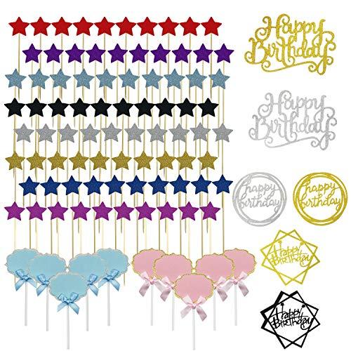 Allazone 96 Pz Decoraciones para Tarta, Color Mezclado Happy Birthday y Palillos con Estrellas Doradas, Happy Birthday Topper Decoración para Cumpleaños Baby Shower Fiesta Temática