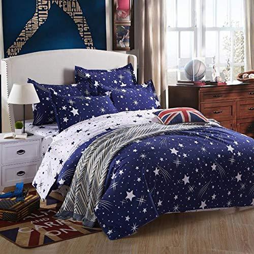 Misterio Galaxia Estrella Espacio Exterior Funda de Edredón con Cremallera, Chico Chica Cosmos Brillar Estrella Rosado Azul Blanco Juego de Cama (Estrella 2, 180x220cm para Cama de 105/90cm)